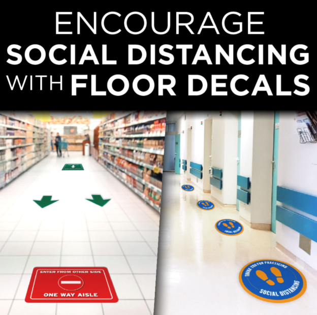 Social Distancing Floor Decals in Plymouth